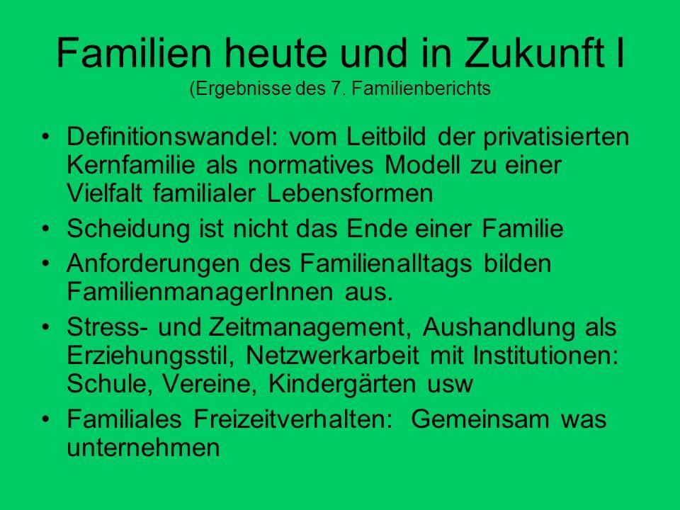 Familien heute und in Zukunft I (Ergebnisse des 7. Familienberichts