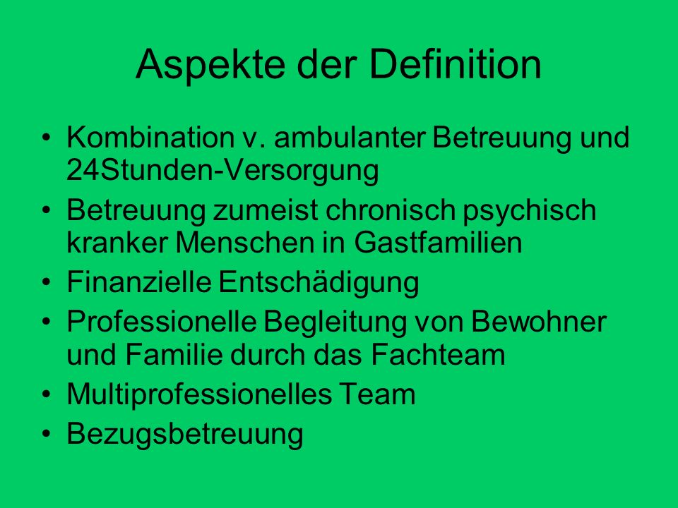 Aspekte der Definition