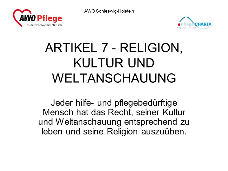 ARTIKEL 7 - RELIGION, KULTUR UND WELTANSCHAUUNG