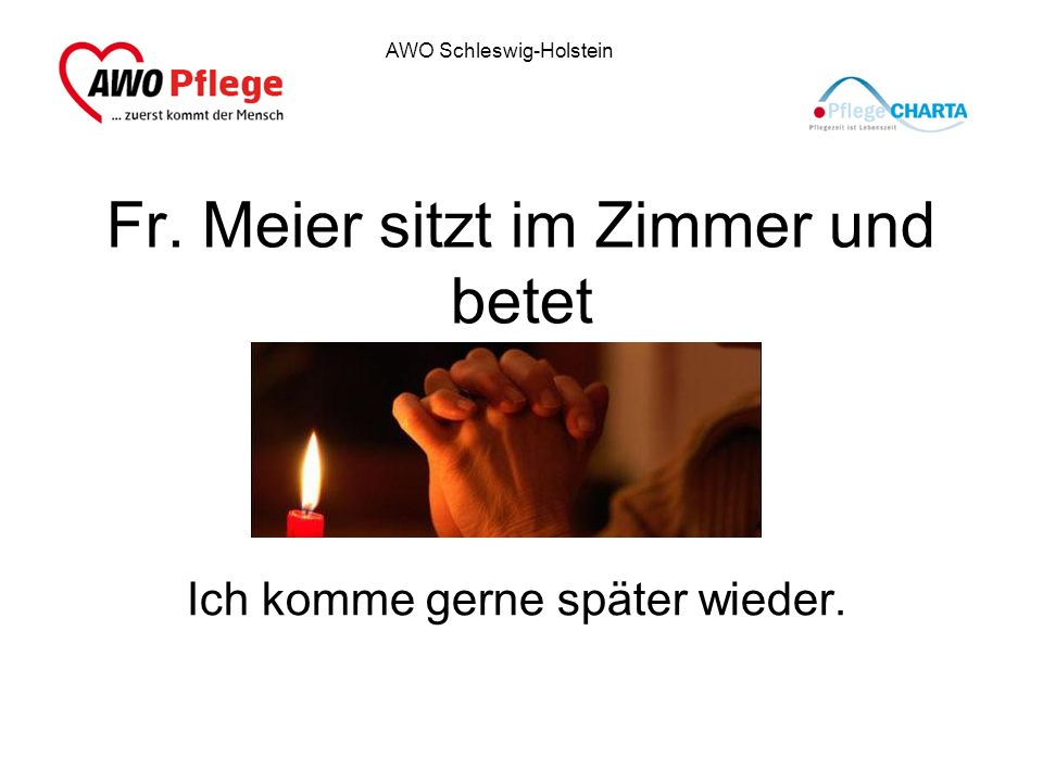 Fr. Meier sitzt im Zimmer und betet