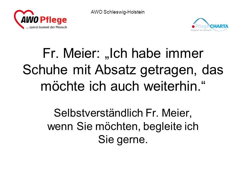 """Fr. Meier: """"Ich habe immer Schuhe mit Absatz getragen, das möchte ich auch weiterhin."""