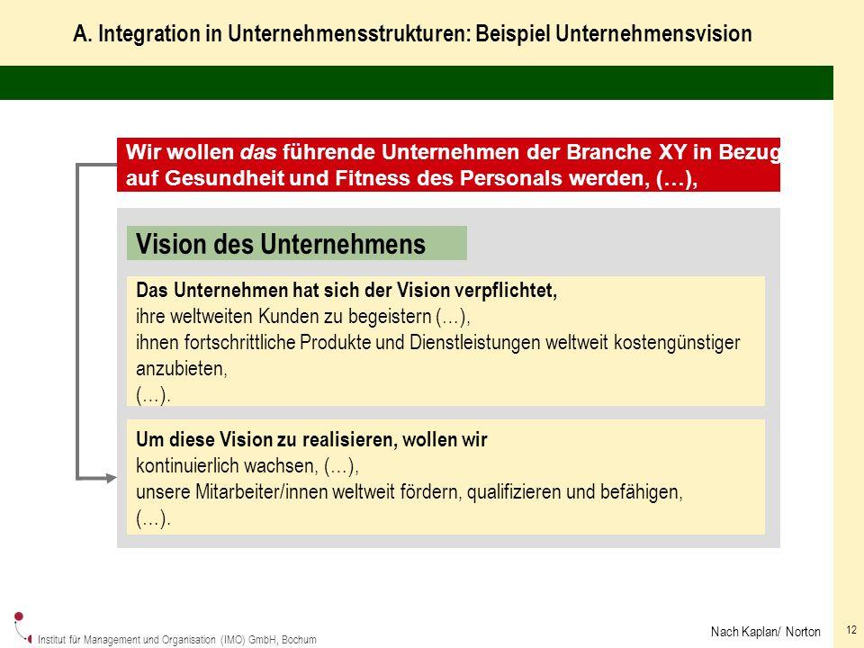 A. Integration in Unternehmensstrukturen: Beispiel Unternehmensvision