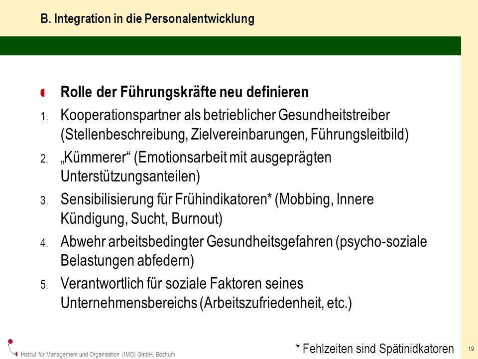 B. Integration in die Personalentwicklung