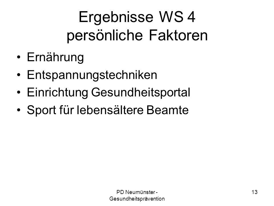 Ergebnisse WS 4 persönliche Faktoren
