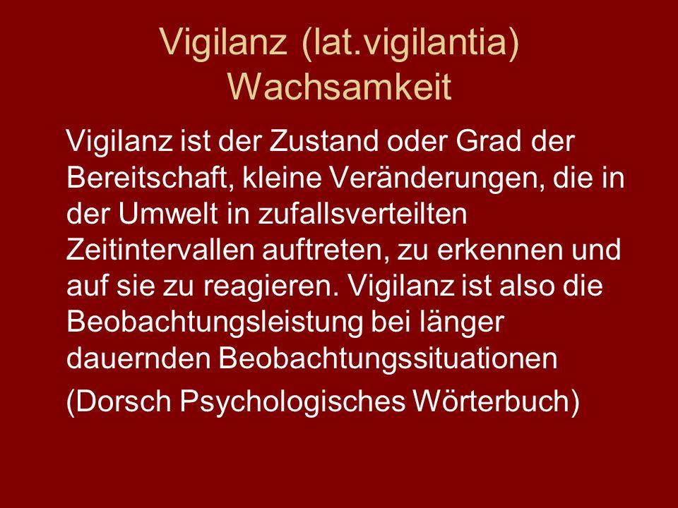 Vigilanz (lat.vigilantia) Wachsamkeit