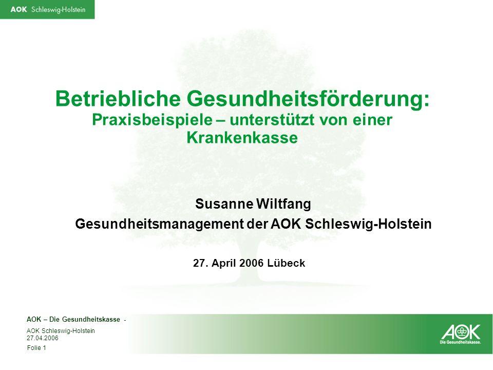 Gesundheitsmanagement der AOK Schleswig-Holstein