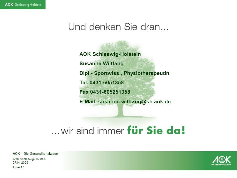 AOK Schleswig-Holstein Susanne Wiltfang