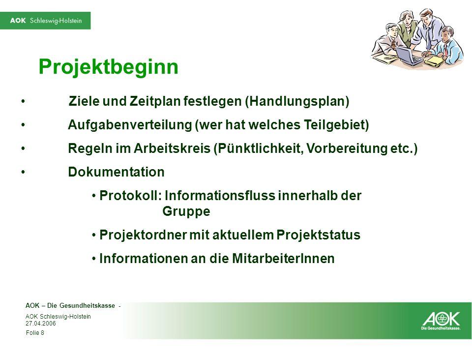 Projektbeginn Ziele und Zeitplan festlegen (Handlungsplan)