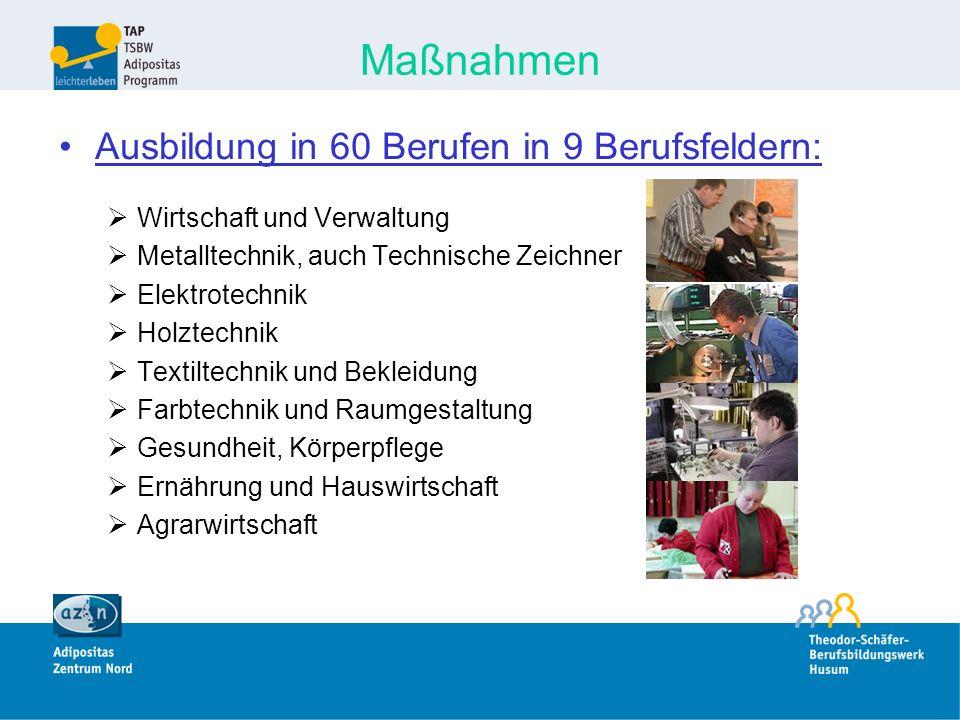 Maßnahmen Ausbildung in 60 Berufen in 9 Berufsfeldern: