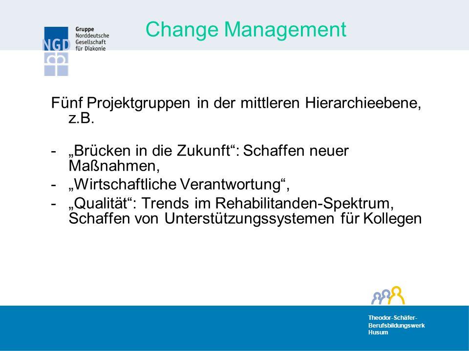 """Change Management Fünf Projektgruppen in der mittleren Hierarchieebene, z.B. """"Brücken in die Zukunft : Schaffen neuer Maßnahmen,"""