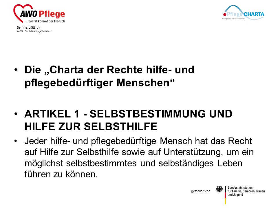 """Die """"Charta der Rechte hilfe- und pflegebedürftiger Menschen"""