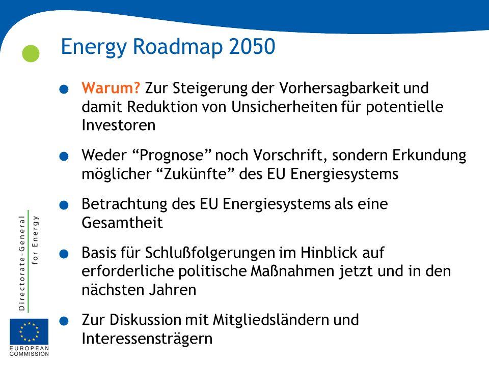 Energy Roadmap 2050 Warum Zur Steigerung der Vorhersagbarkeit und damit Reduktion von Unsicherheiten für potentielle Investoren.