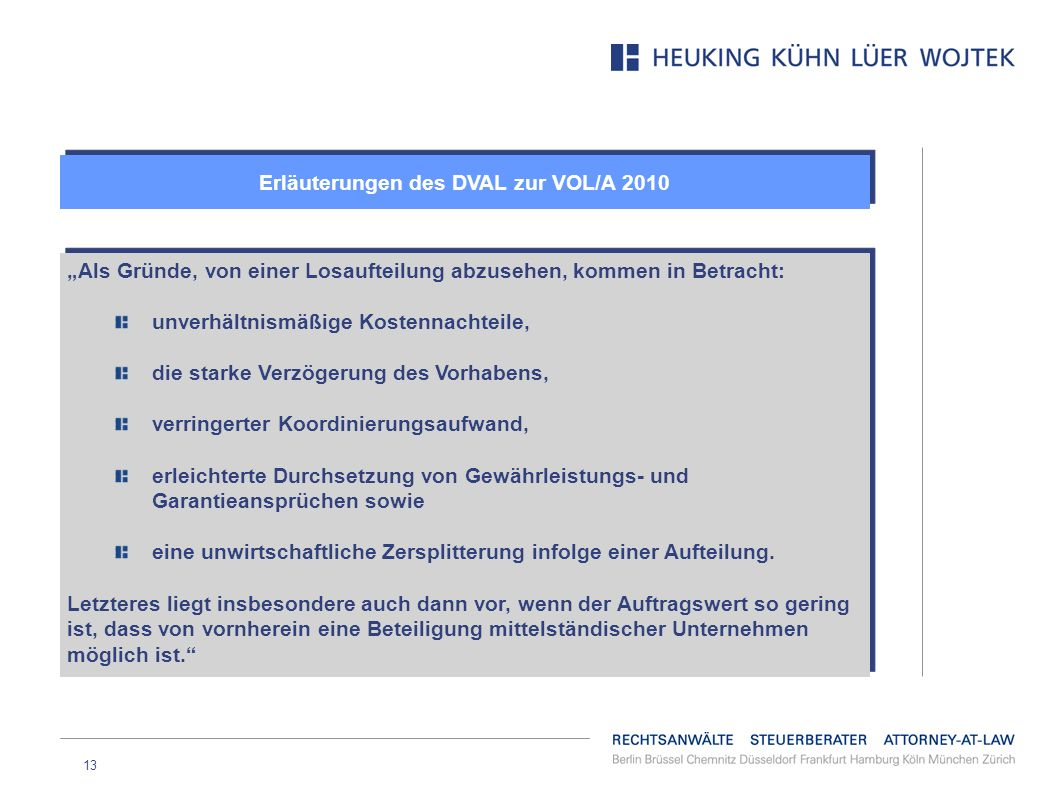 Erläuterungen des DVAL zur VOL/A 2010
