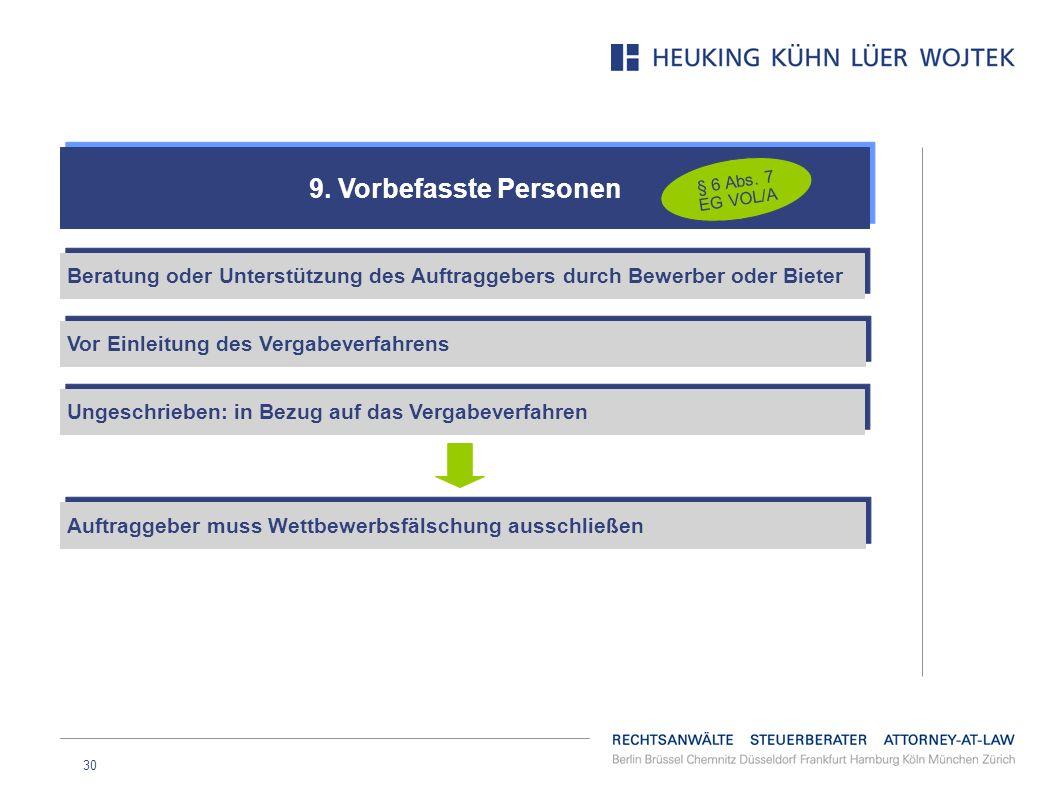 9. Vorbefasste Personen § 6 Abs. 7 EG VOL/A. Beratung oder Unterstützung des Auftraggebers durch Bewerber oder Bieter.