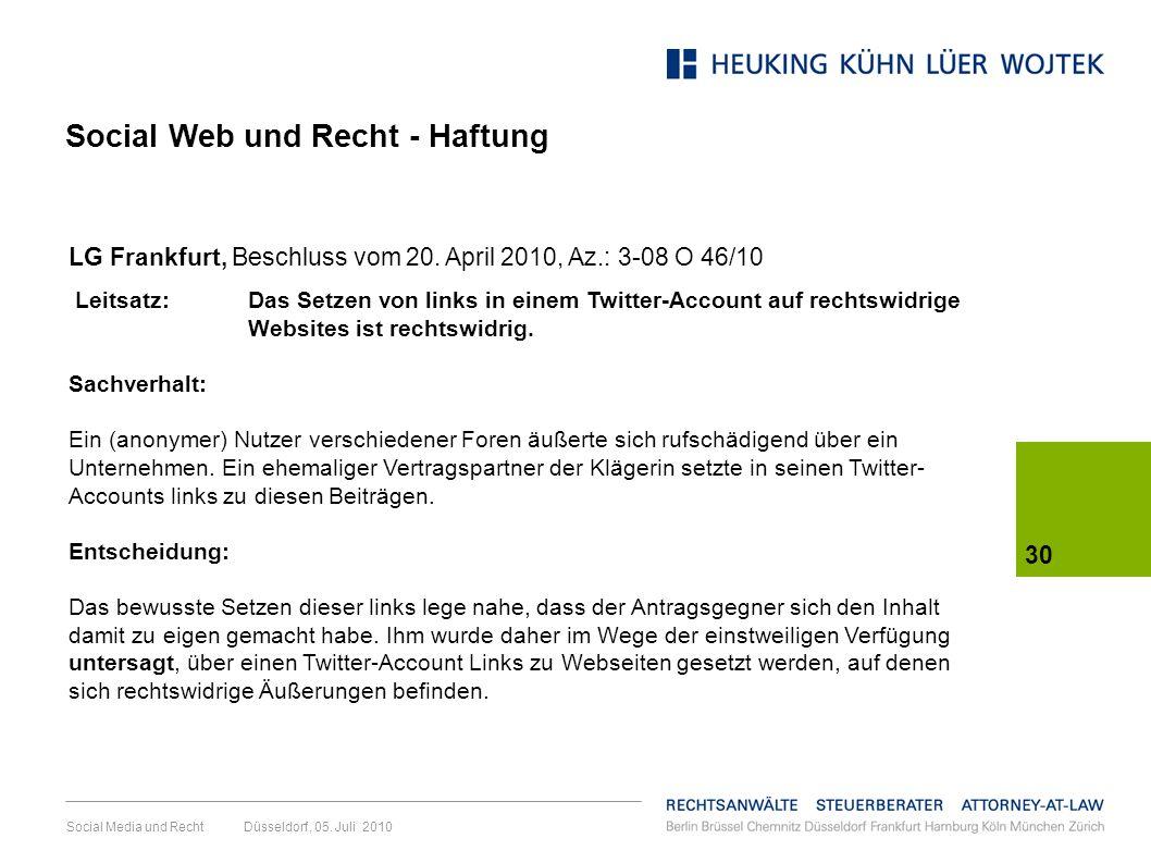 Social Web und Recht - Haftung