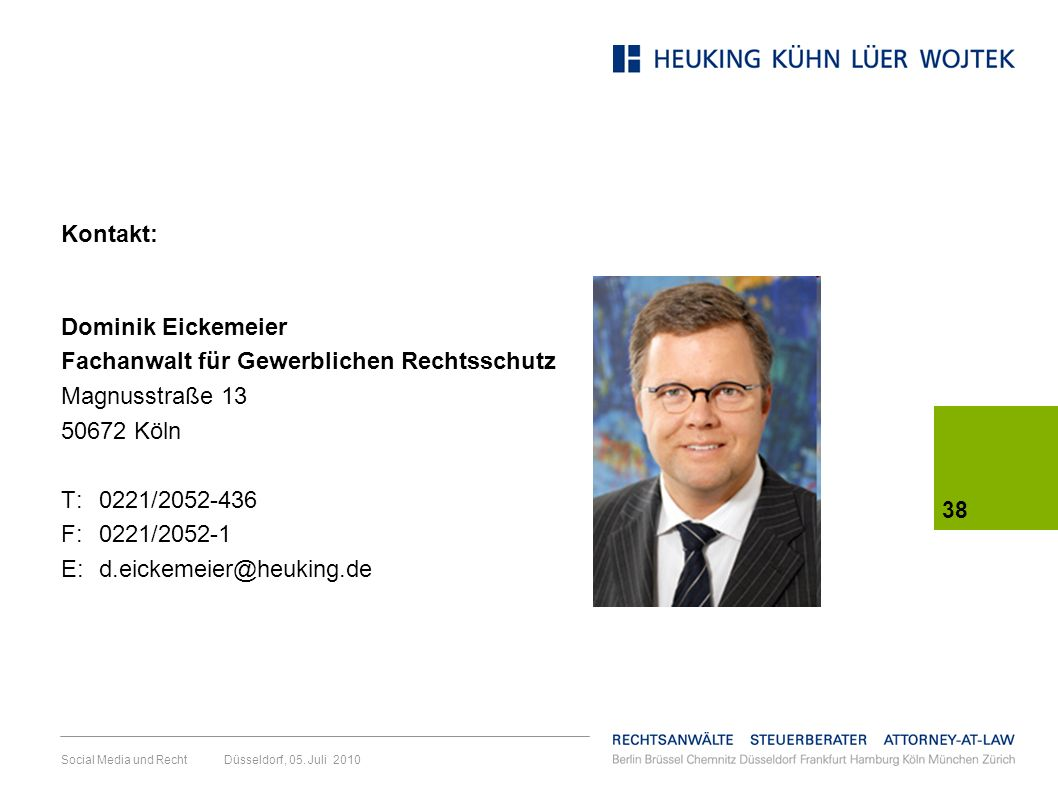 Fachanwalt für Gewerblichen Rechtsschutz Magnusstraße 13 50672 Köln
