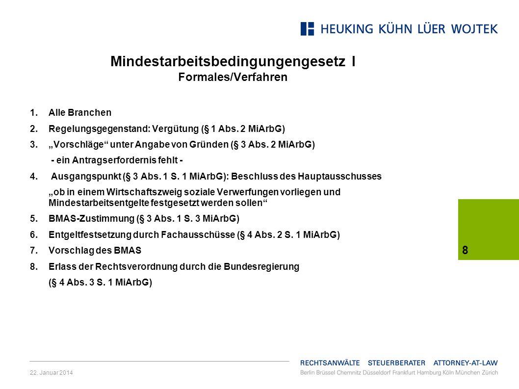 Mindestarbeitsbedingungengesetz I Formales/Verfahren