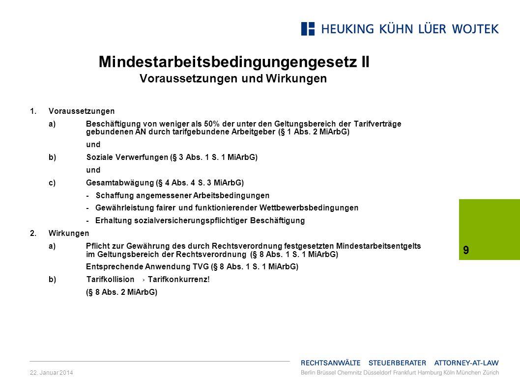 Mindestarbeitsbedingungengesetz II Voraussetzungen und Wirkungen