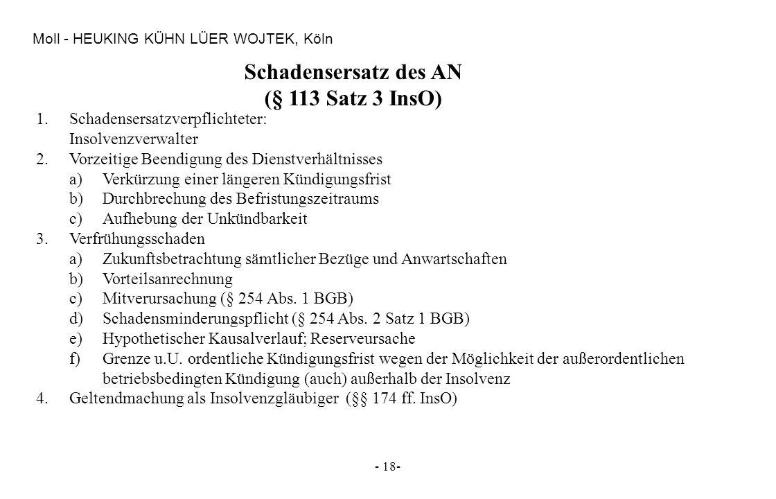 Schadensersatz des AN (§ 113 Satz 3 InsO)