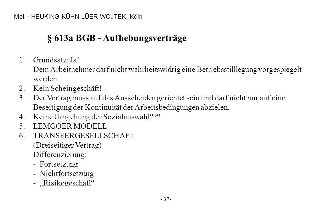 § 613a BGB - Aufhebungsverträge