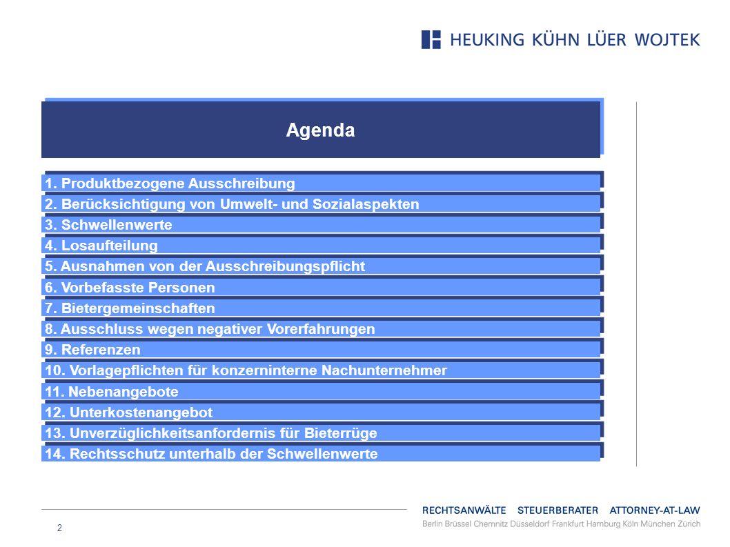 Agenda 1. Produktbezogene Ausschreibung