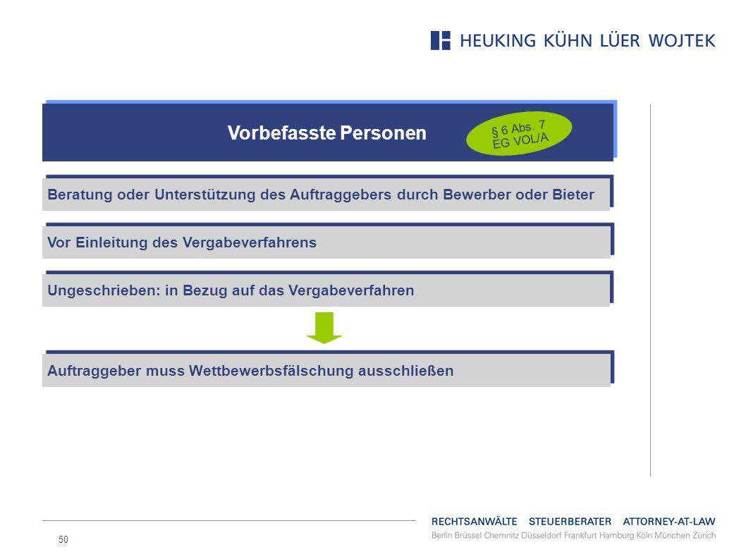 Vorbefasste Personen § 6 Abs. 7 EG VOL/A. Beratung oder Unterstützung des Auftraggebers durch Bewerber oder Bieter.