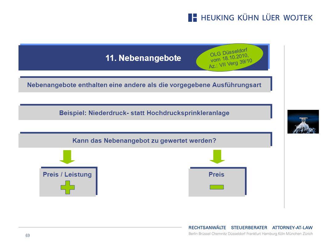 11. Nebenangebote OLG Düsseldorf vom 18.10.2010, Az.: VII Verg 39/10. Nebenangebote enthalten eine andere als die vorgegebene Ausführungsart.