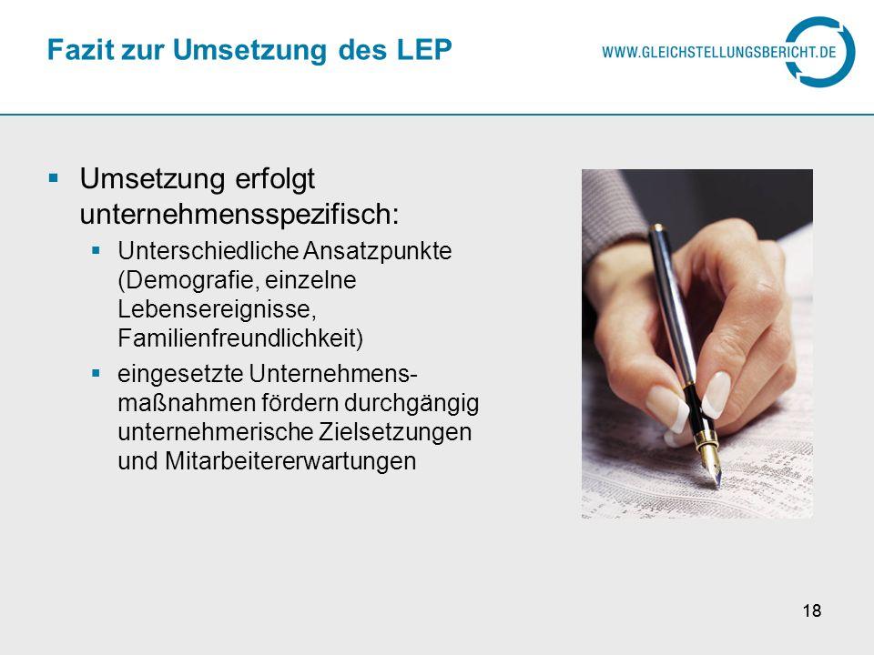 Fazit zur Umsetzung des LEP