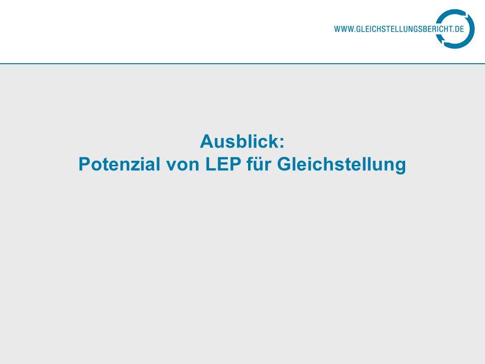 Ausblick: Potenzial von LEP für Gleichstellung