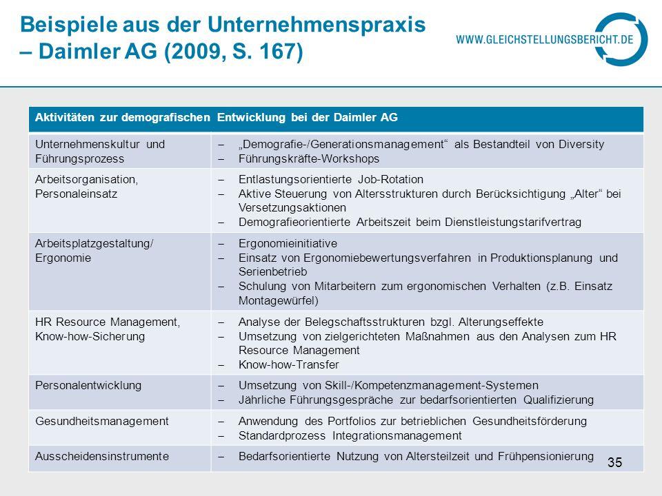 Beispiele aus der Unternehmenspraxis – Daimler AG (2009, S. 167)