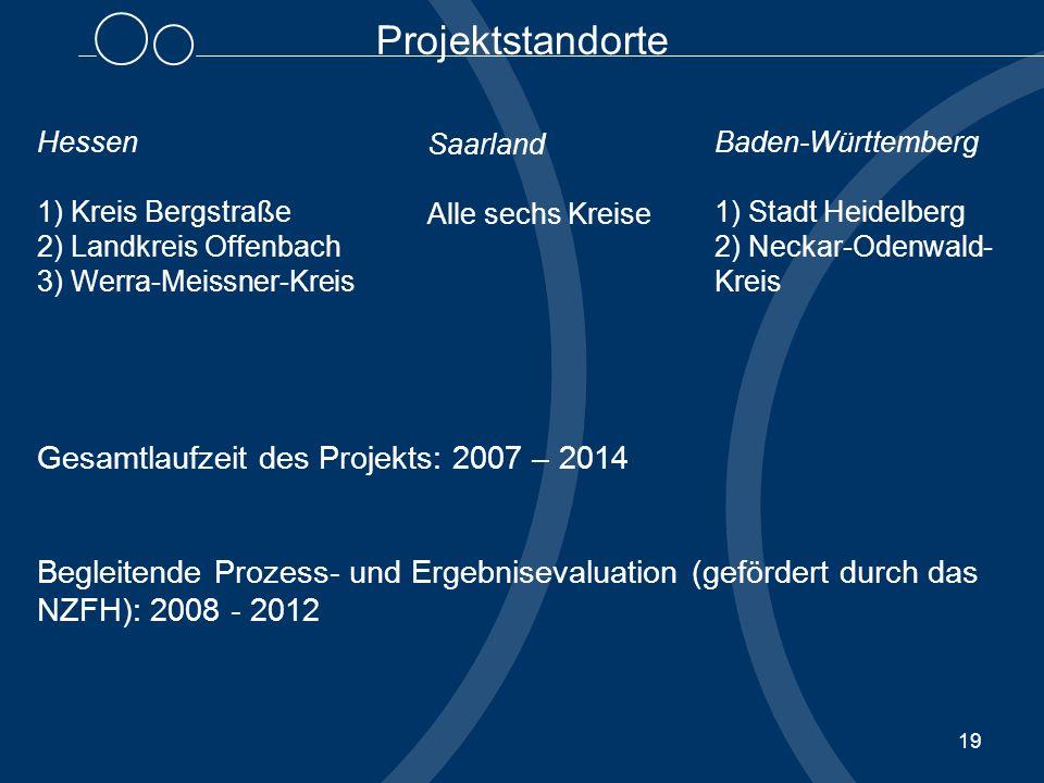 Projektstandorte Gesamtlaufzeit des Projekts: 2007 – 2014