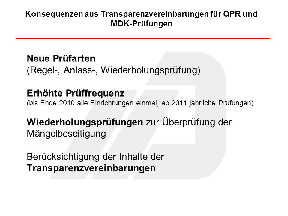 Konsequenzen aus Transparenzvereinbarungen für QPR und MDK-Prüfungen