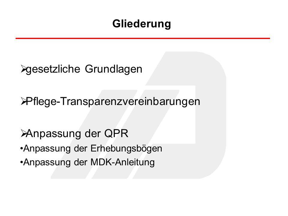 gesetzliche Grundlagen Pflege-Transparenzvereinbarungen