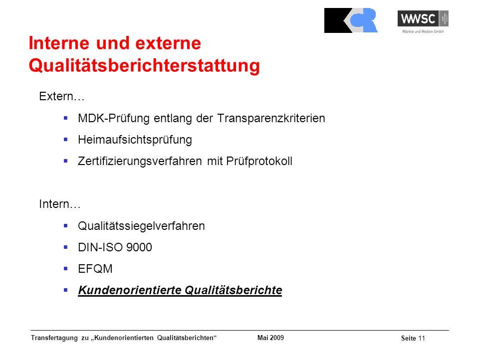Interne und externe Qualitätsberichterstattung