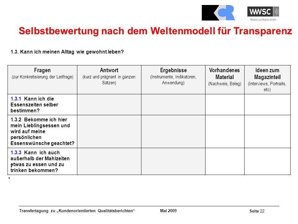 Selbstbewertung nach dem Weltenmodell für Transparenz