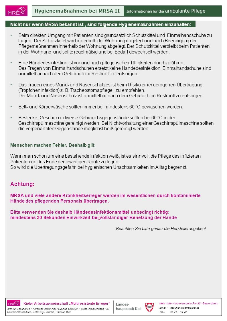 Achtung: Hygienemaßnahmen bei MRSA II