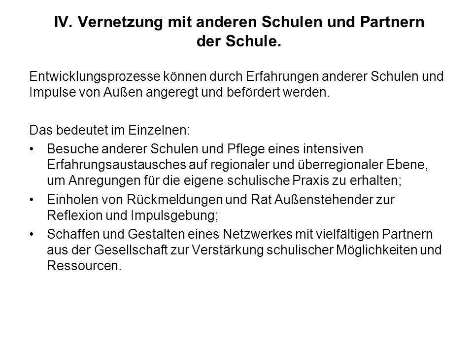 IV. Vernetzung mit anderen Schulen und Partnern der Schule.