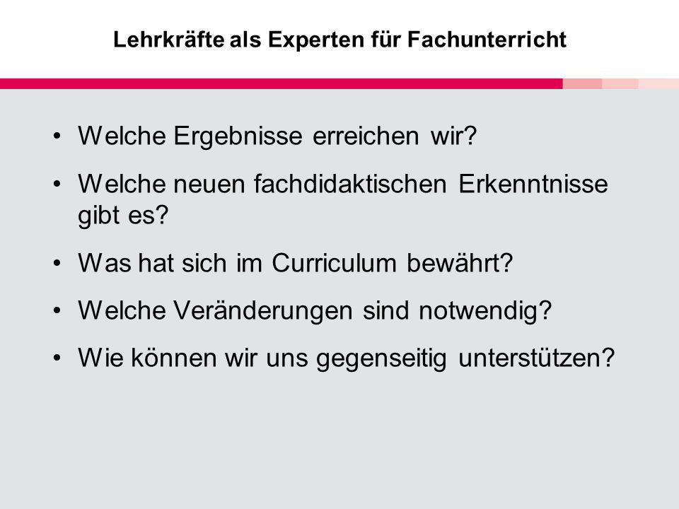 Lehrkräfte als Experten für Fachunterricht