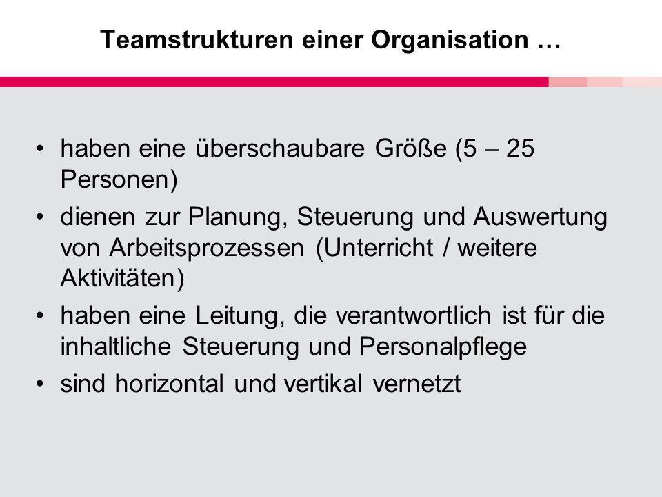 Teamstrukturen einer Organisation …