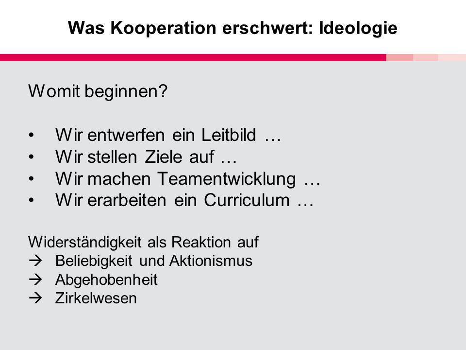 Was Kooperation erschwert: Ideologie