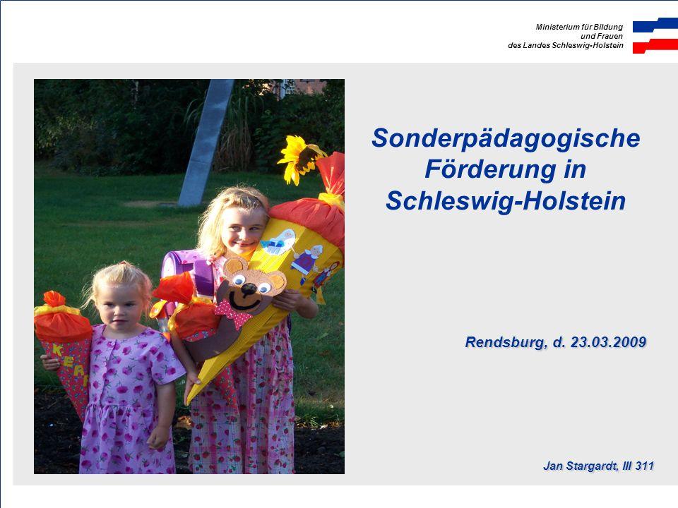 Sonderpädagogische Förderung in Schleswig-Holstein. Rendsburg, d. 23