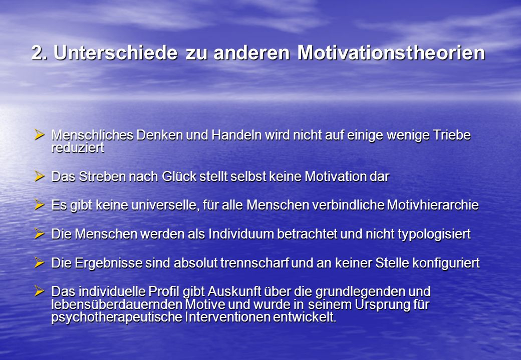 2. Unterschiede zu anderen Motivationstheorien