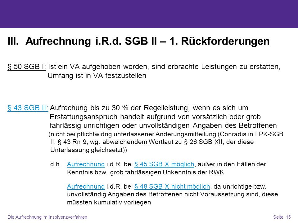 III. Aufrechnung i.R.d. SGB II – 1. Rückforderungen