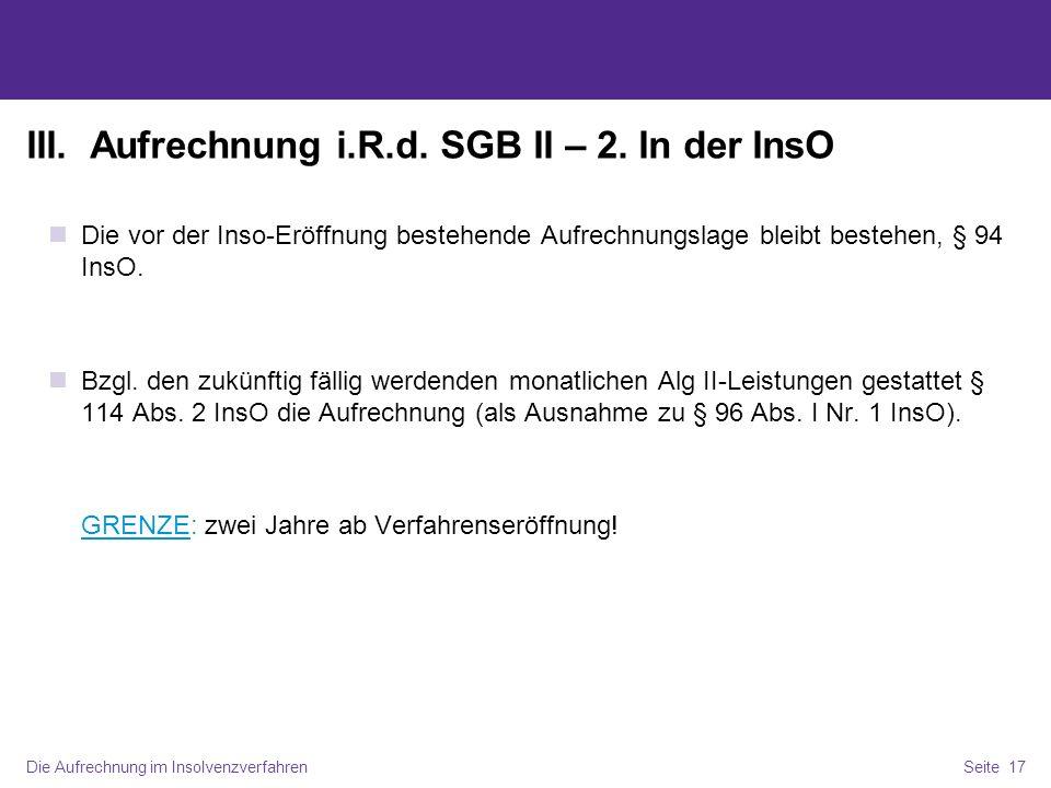 III. Aufrechnung i.R.d. SGB II – 2. In der InsO