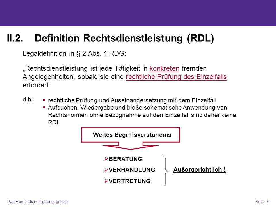 II.2. Definition Rechtsdienstleistung (RDL)