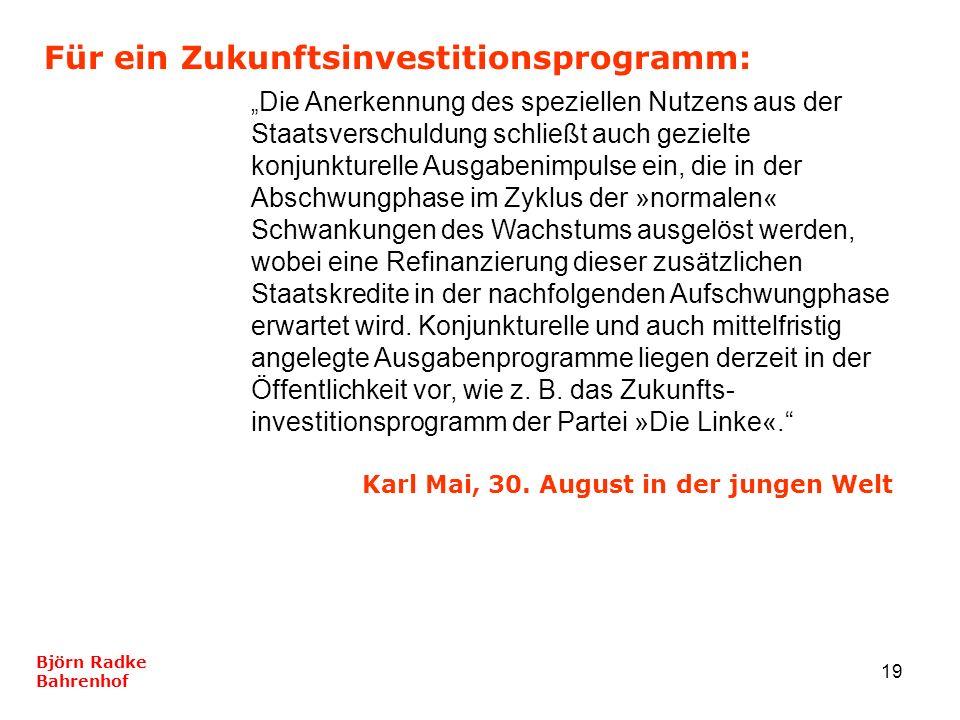 Für ein Zukunftsinvestitionsprogramm: