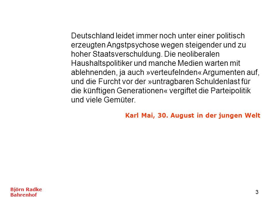 Deutschland leidet immer noch unter einer politisch erzeugten Angstpsychose wegen steigender und zu hoher Staatsverschuldung. Die neoliberalen Haushaltspolitiker und manche Medien warten mit ablehnenden, ja auch »verteufelnden« Argumenten auf, und die Furcht vor der »untragbaren Schuldenlast für die künftigen Generationen« vergiftet die Parteipolitik und viele Gemüter.