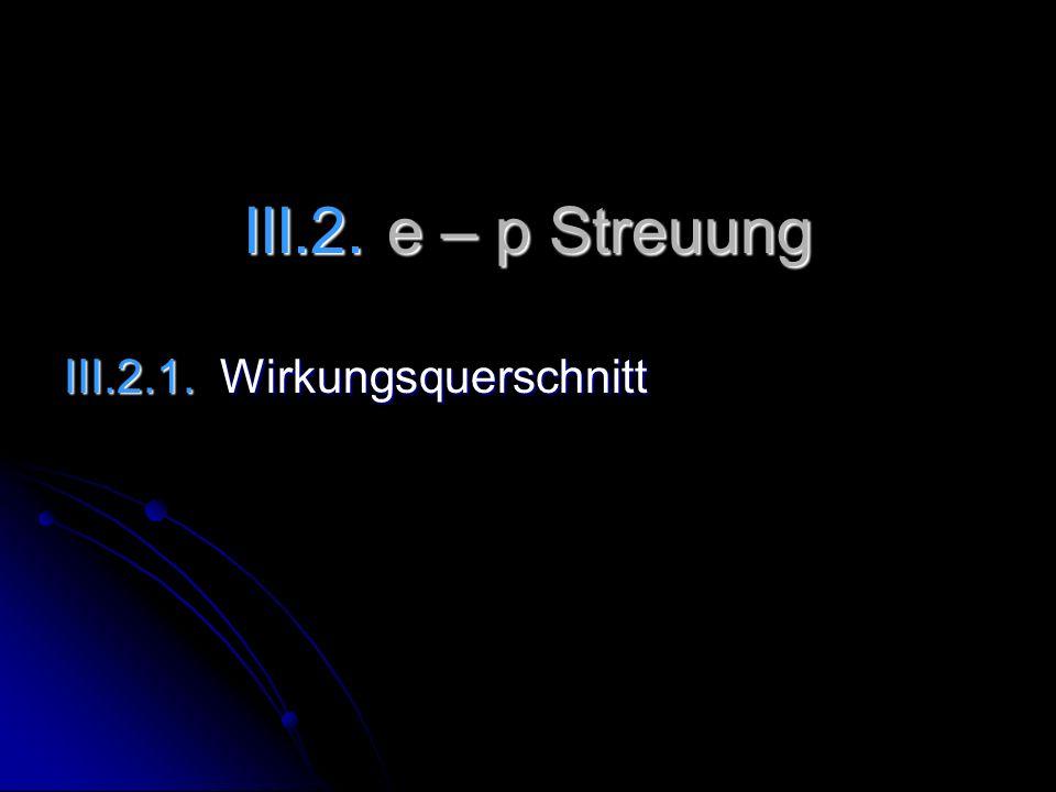 III.2. e – p Streuung III.2.1. Wirkungsquerschnitt