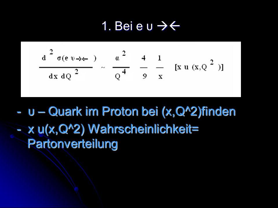 1.Bei e υ - υ – Quark im Proton bei (x,Q^2)finden.