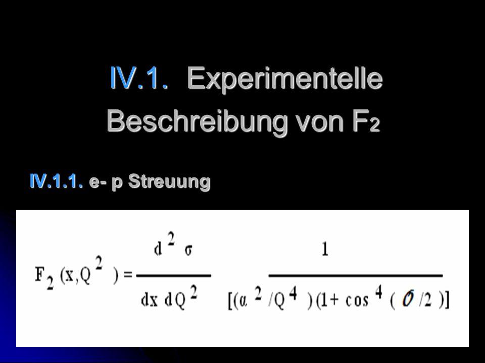 IV.1. Experimentelle Beschreibung von F2 IV.1.1. e- p Streuung